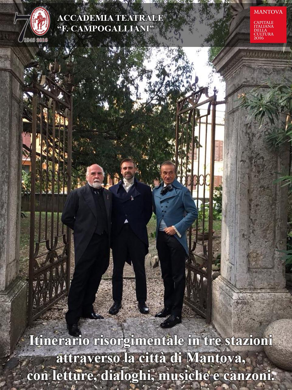 Itinerario risorgimentale in sei stazioni attraverso la città di Mantova, con letture, dialoghi,  musiche e canzoni