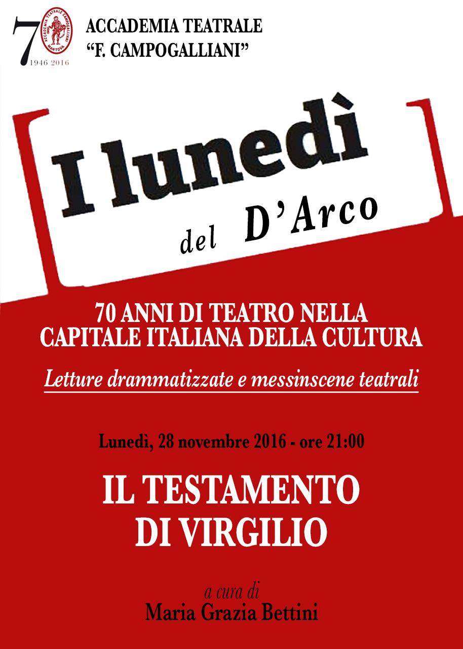 I LUNEDÌ DEL D'ARCO - Il testamento di Virgilio